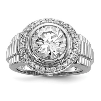 Sterling Silver Rhodium-plated Mens CZ Ring