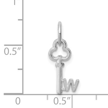 14K White Gold Key Letter W Initial Charm