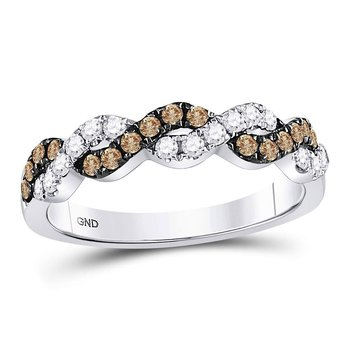 10kt White Gold Womens Round Brown Color Enhanced Diamond Braided Band Ring 1/2 Cttw