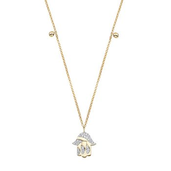 Yellow Gold Piety Hamsa Charm Necklace
