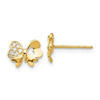 14k Madi K CZ Bow Post Earrings