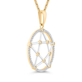 Round Cut Diamond Pentagram Fashion Pendant