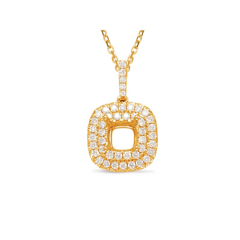 S. Kashi  & Sons Diamond Pendant For 1ct Cushion Center