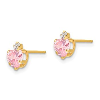 14k Madi K 2mm round / 5mm Pink CZ Heart Post Earrings