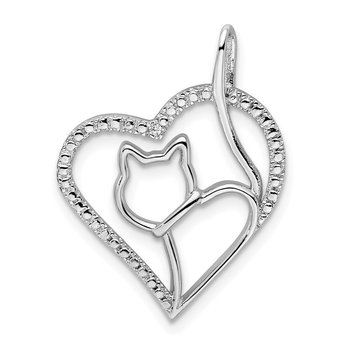 Sterling Silver Rhodium-plated CZ Heart w/Cat Silhouette Pendant