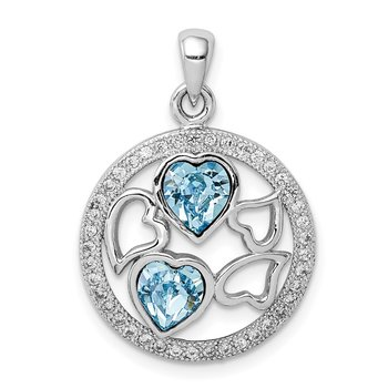 Sterling Silver Rhodium-plated Clear/Blue Crystal Hearts Pendant