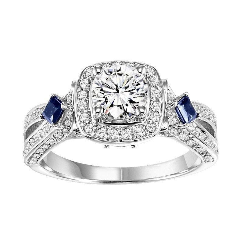 Bridal Bells 14K Diamond Engagement Ring with Sapphire 1/2 gtw. 3/4 ct at center.