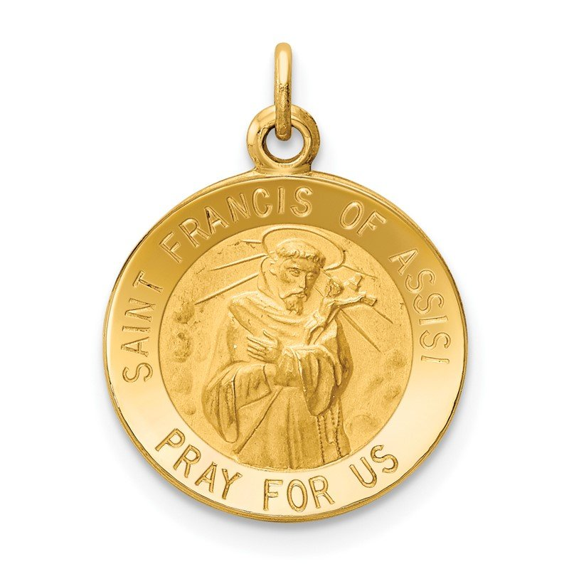 Quality Gold 14k Saint Francis of Assisi Medal Charm