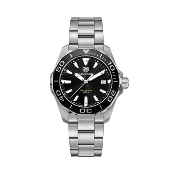 Aquaracer Quartz Mans Stainless Steel Watch. The 41 mm Watch Has A Black Dial, Black Bezel And A Steel Bracelet With A Wet-Suit Extension. Model WAY111A.