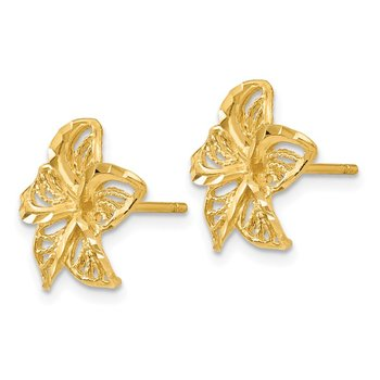 14K Diamond-cut Filigree Plumeria Earrings