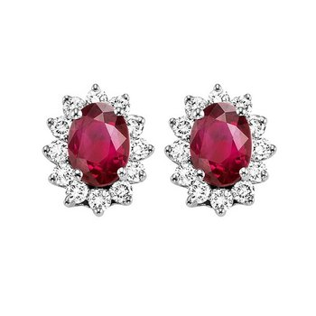 14K White Gold Color Ensembles Halo Prong Ruby Earrings 3/8CT