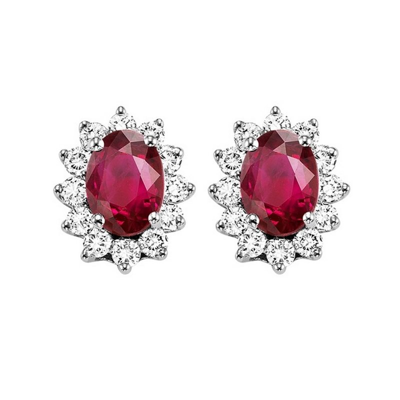 Gems One 14K White Gold Color Ensembles Halo Prong Ruby Earrings 3/8CT