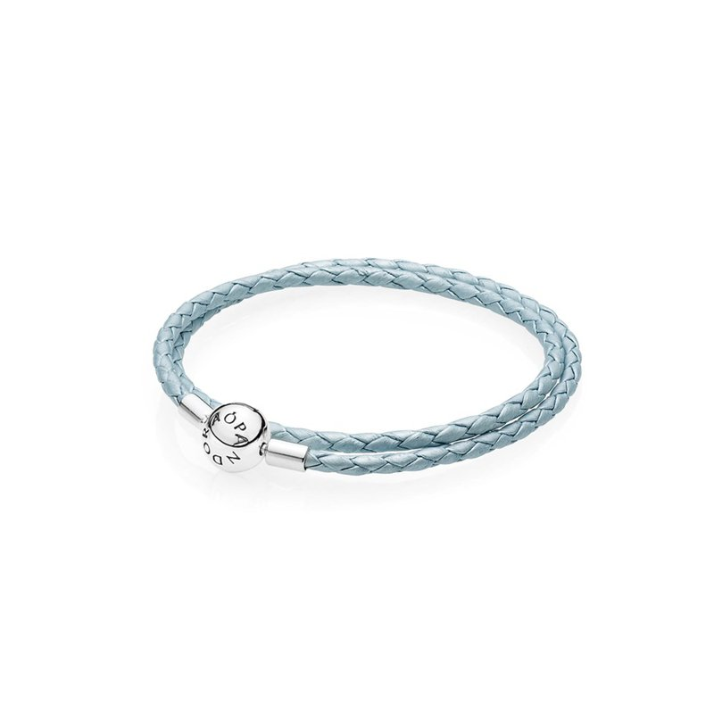 PANDORA Light Blue Leather Charm Bracelet