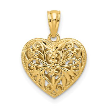 14K Two-tone Polished Diamond-cut Reversible Heart Pendant