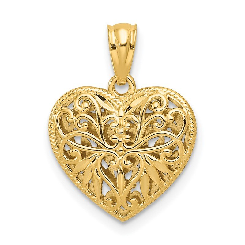 Quality Gold 14K Two-tone Polished Diamond-cut Reversible Heart Pendant