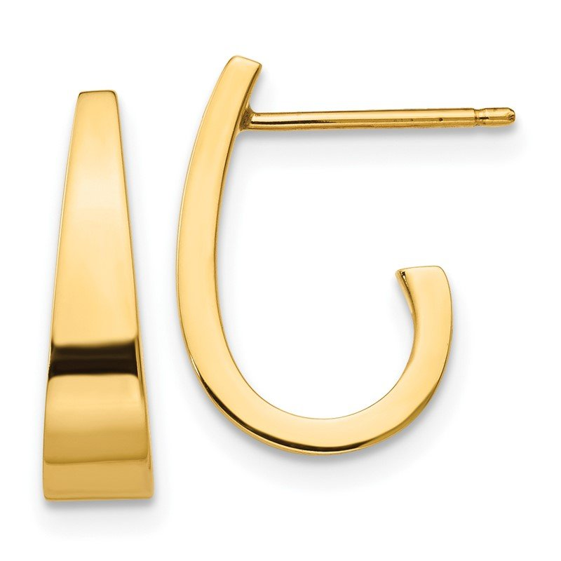 Quality Gold 14k Small Polished J Hoop Earrings