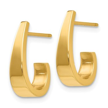 14k Small Polished J Hoop Earrings