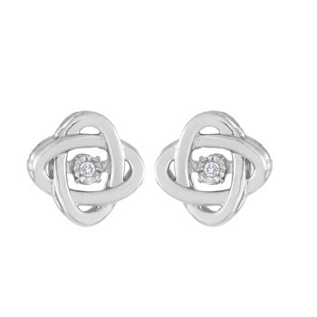 SILVER 0.02CTW HEARTBEAT WITH MIRACLE PLATE EARRING