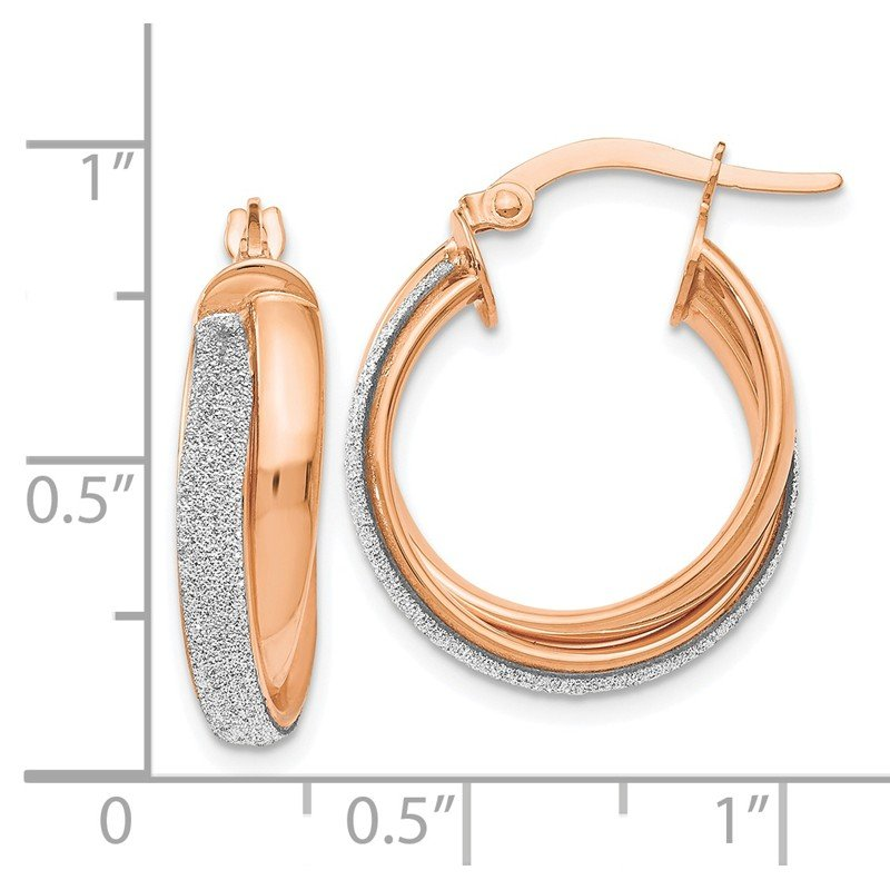 Leslie's Leslie's 14K Rose Gold Fancy Glimmer Infused Hoop Earrings
