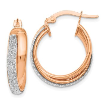 Leslie's 14K Rose Gold Fancy Glimmer Infused Hoop Earrings