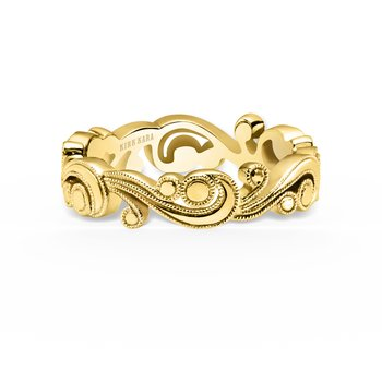 Milgrain Romantic Artistic Waves Wedding Band