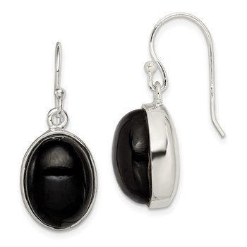 Sterling Silver Black Mountain Jade Shepherd Hook Earrings