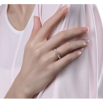 Smiling Rocks 0.33Ct Lab Grown Pink Color Diamond with G-H/VS1 Diamond Engagement Ring