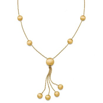 Leslie's 14k Scratch Finish Beaded Necklace