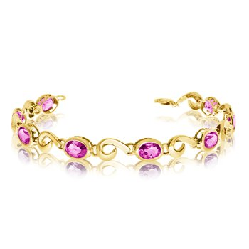 14K Yellow Gold Oval Pink Topaz Bracelet