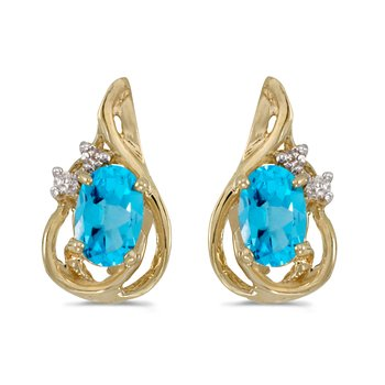 10k Yellow Gold Oval Blue Topaz And Diamond Teardrop Earrings
