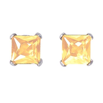 14k White Gold Square Citrine Stud Earrings
