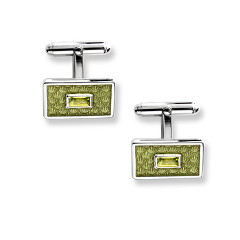 Sterling Silver Classic T-Bar Cufflinks-Green. Peridot.