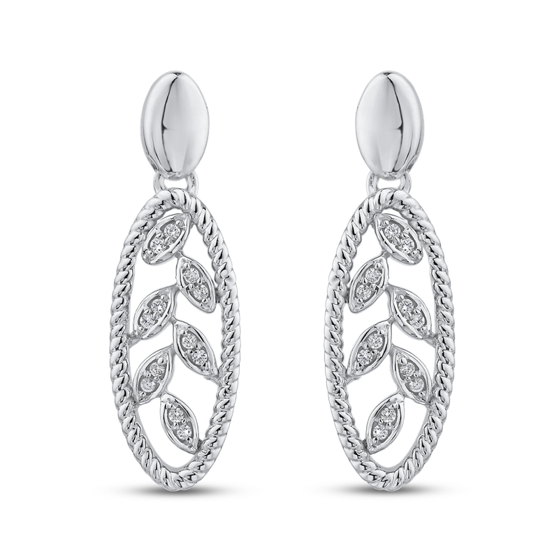 Essentials 10K White Gold 1/10 ct Round White Diamond Fashion Earrings