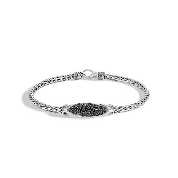 Asli Classic Chain Link Station Bracelet in Silver, Gemstone
