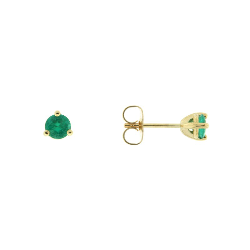 Paragon Fine Jewellery 14k Yellow Gold Earrings with Emerald