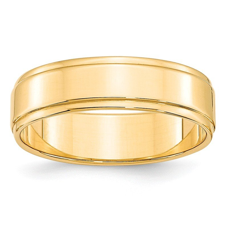 Quality Gold 14KY 6mm Flat with Step Edge Band Size 10