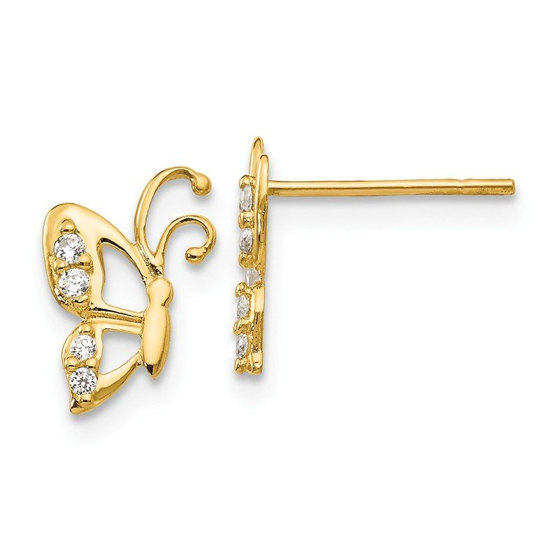 Quality Gold 14k Madi K CZ Butterfly Baby Post Earrings