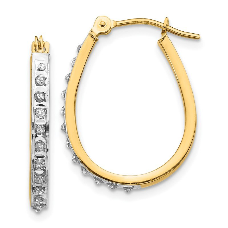 Quality Gold 14k Yellow & Rhodium Diamond Fascination Oval Hinged Hoop Earrings