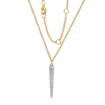 "DAGGER SHAPE 14K NECKLACE WITH 41 DIAMONDS 0.65CT 18"" CHAIN"