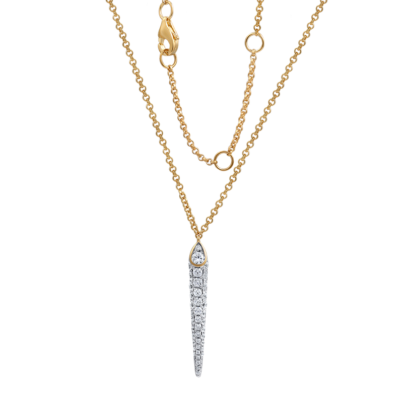 "Shula NY DAGGER SHAPE 14K NECKLACE WITH 41 DIAMONDS 0.65CT 18"" CHAIN"