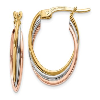 14K Tri-Color Polished Oval Hoop Earrings