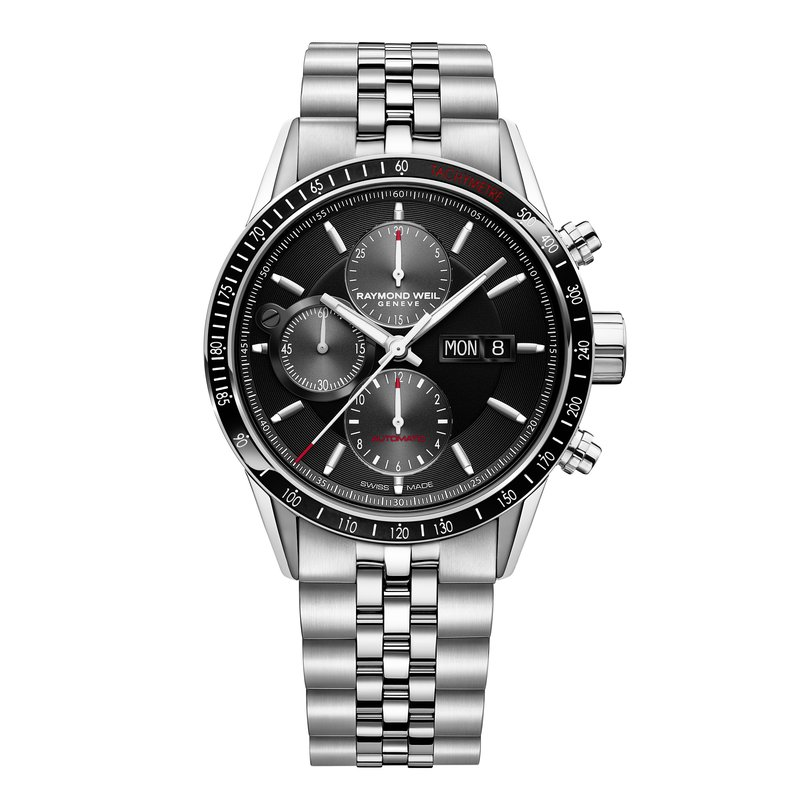 Men's Automatic Chronograph Watch, 42mm steel on steel, black dial, tachometer bezel