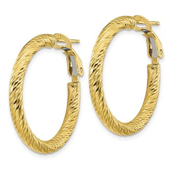 10k 3x20 Diamond-cut Round Omega Back Hoop Earrings