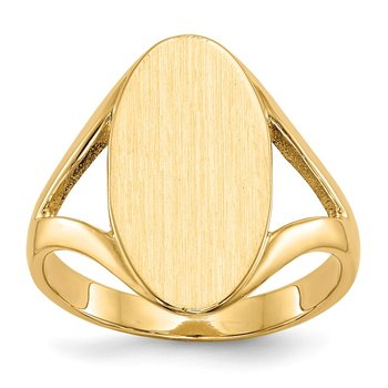 14k 16.5x9.0mm Closed Back Signet Ring