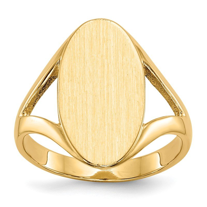 Quality Gold 14k 16.5x9.0mm Closed Back Signet Ring