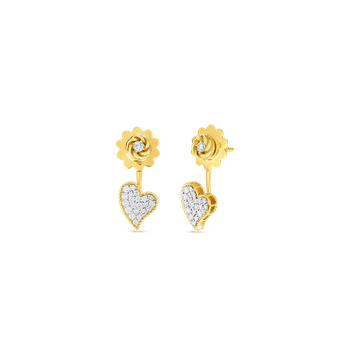 18KT GOLD & DIAMONDS PRINCESS HEART  DROP EARRINGS