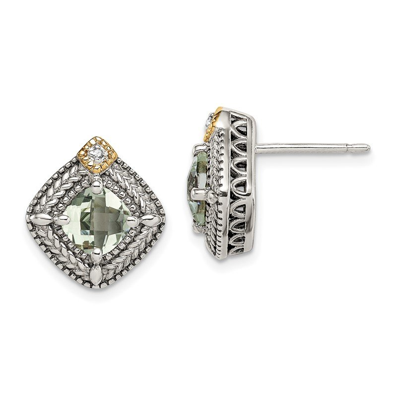Quality Gold Sterling Silver w/ 14K Accent Green Quartz & Diamond Post Earrings