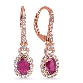 Rose Gold Ruby & Diamond Earring