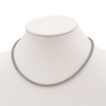 Sterling Silver CZ Riviera 17in Necklace