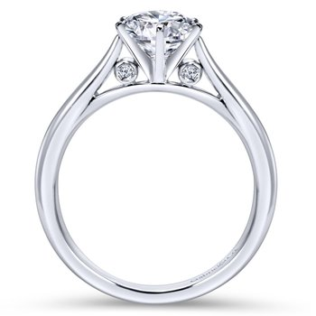 14k White Gold Solitaire Diamond Engagement Ring with Rounded Shank